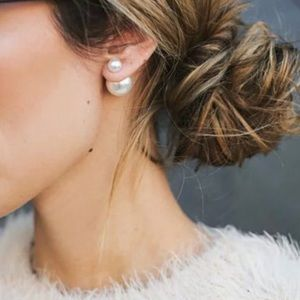 Double Sided White Pearl Stud Earrings